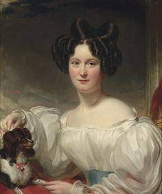 Portrait of Mary Aston Walker, née Hoggart (b.1809), half-length, in a white dress, with a King Charles spaniel,circle of George Henry Harlow