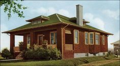 The Winsom  1916 STERLING SYSTEM HOMES         This classic cottage bungalow plan offers the home owner the large porch, hipped roof, and low slung profile seen in the Prairie School designs. The Winsom plan is one of Sterling's more modern plans with a central hall leading to two of the three bedrooms.  Though modest in size and style, it was a respectable 1064 sq. ft. affording a small family both shared and private space.
