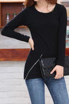 Super Cute! Love the Zipper! Black Long Sleeve Contrast Asymmetrical Loose T-Shirt #Black #Zipper #T_Shirt #Fashion