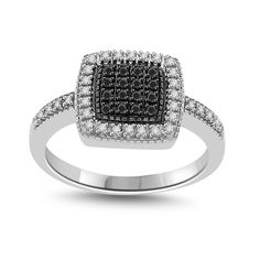 Sterling Silver Black & White Diamond Accents Square Ring I1-I2 #DiamantJewels #SquareRing
