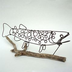 Trout Wire Sculpture by WiredbyBud on Etsy