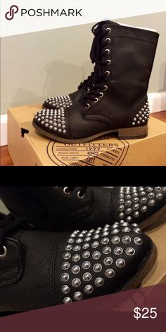 Brand New W Box American Eagle Faux Leather boots Brand New with box. Size 6.5 Bought from American Eagle store Black Faux Leather with silver studs Please let me know if you have any questions! American Eagle Outfitters Shoes Combat & Moto Boots