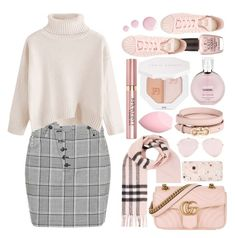 """""""Pink Plaid"""" by carefreecouture ❤ liked on Polyvore featuring Burberry, Gucci, Salvatore Ferragamo, Chanel, Puma, OPI, L'Oréal Paris, adidas, Topshop and Alexander Wang"""