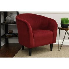 New Tub Accent Chair Berry Red Microfiber Upholstery Padded Seat Living Furniture Bucket Barrel Chair Comfortable Deep Foam Cushion Modern Living Room Office Guest Chair online - Aristatopshop Living Room Chairs, Tub Chair, Comfortable Chair, Office Guest Chairs, Living Furniture, Furniture, Accent Chairs, Red Accent Chair, Living Room Furniture