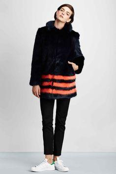 striped faux-fur #coat :: #Shrimps