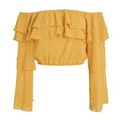 Pearl Accent Ruffled Crop Blouse (3 Colors)