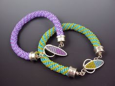 Beaded Bracelet in Purple or Turquoise by danaevansstudio on Etsy