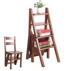 Conversível Cadeira de Multi-funcional Quatro-Passo Escada Da Biblioteca em 3 Cores Biblioteca Mobiliário Cadeira Dobrável de Madeira Escada para Casa(China (Mainland))