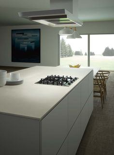 Pictured: Ceralsio Soft White natural from CRL Stone - a ceramic worktop, making it the ideal surface for the kitchen.