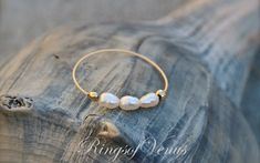 FREE SHIPPING Gold small pearl ring freshwater pearl 24K