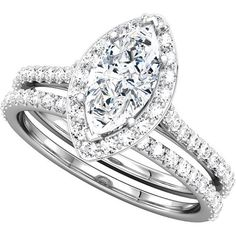 Halo-Style Marquise Shaped Engagement Ring Mounting |  could use mom's diamond for the center!