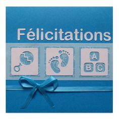 Carte Félicitations Naissance Garçon Hochet, Pieds & Cubes, Collection Lovely Scrap, Lovely Carte