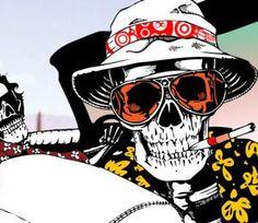 Hunter S Thompson Fear and Loathing Psychedelic Art, Illustrations, Illustration Art, Pop Art, Hunter S Thompson, Totenkopf Tattoos, Fear And Loathing, Skull Design, Skull And Bones