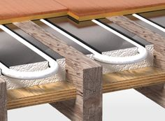 Confused - Between joists or suspended floors Hydronic Radiant Floor Heating, Water Underfloor Heating, Tyni House, Heating And Plumbing, Home Technology, Post And Beam, Radiant Heat, Home Repairs, Fireplace Design