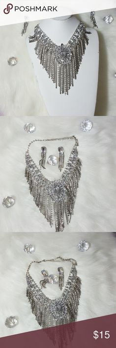 Women's statement necklace with matching earrings Silver necklace with faux crystals all around the statement piece for a more luxury look. Brand new without tags. Jewelry Necklaces