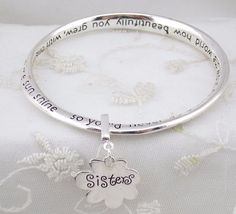 If sisters were flowers Bracelet Silver Fashion Jewelry NEW #FashionLeader #bangle