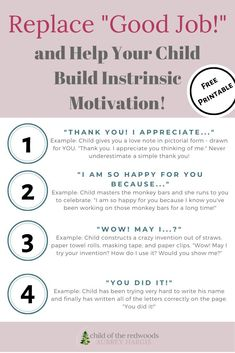 There are so many thing you can say instead of GOOD JOB! Here are 21 recommendations for ways to acknowledge effort while supporting intrinsic motivation. The Montessori approach to praise! Improve Communication, Effective Communication, Parenting Toddlers, Parenting Hacks, Intrinsic Motivation, I Appreciate You, Gentle Parenting, Early Childhood Education, Good Job