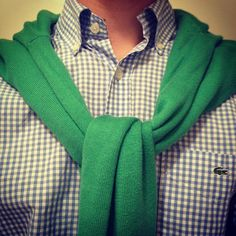 gingham and kelly green