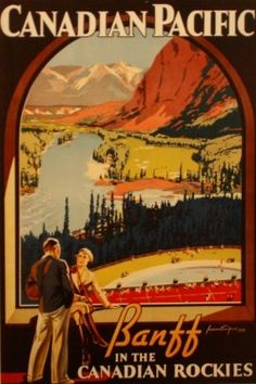 Vintage Canadian Art Deco poster advertising travel to the Canadian Rockies via Canadian Pacific Railway. #vintage #travel #poster #Canada