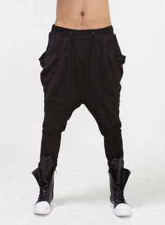 Drop Crotch Wing Pocket Sweats Sarouel $58.00 #Fashion #Style #Street #Jogger #Sweats #Black #DropCrotch