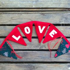 LOVE bunting red and white traditional Christmas by EmmaBuntingUK