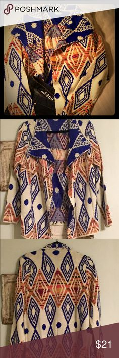 Cardigan Brand; sixty-five cardigan sweater, 85% Acrylic, 15% Polyester like new, from a smoke free home. sixty-five Sweaters Cardigans