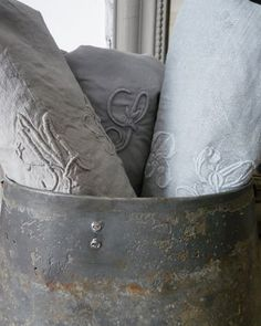 Vintage monogrammed linens can always be dyed. These are from Owen and Hunter Shabby Vintage, Shabby Chic, Vintage Linen, Vintage Table, French Grey, Country French, French Chic, French Farmhouse, French Lace