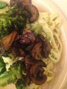 Vegan broccoli pesto with mushrooms, eat drink and save money blog