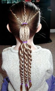 Shaunell's Hair: Little Girl's Hairstyles - How to do a Twist Braid Tiered Ponytail 10-15 min