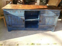 Pallet Wood Entertainment center, stained and painted with ...