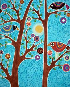 Naif Patterns In Folk Paintings By Karla Gerard – Very Beautiful And Colored These Canvas Painted With Acrylics By Karla Gerard American Artist From Waterville Folk Patterns And Motives Very Happy And Naif That You Can Admire In Karlas Gall Karla Gerard, Motif Floral, Naive Art, Art And Illustration, Whimsical Art, Tree Art, Bird Art, Oeuvre D'art, Painting Inspiration