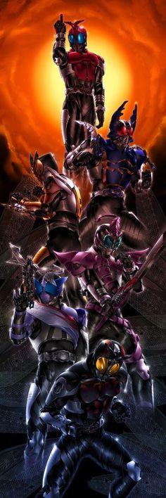 Kamen Rider Kabuto, Gatack, TheBee, Drake y Dark Kabuto Ranger, Kamen Rider Kabuto, Robot Cartoon, Kamen Rider Series, Anime, Wallpapers, Artist, Characters, Dark