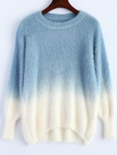 $15.41 Fuzzy Ombre High-Low Sweater