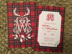 Dixie Delights: Tartan plaid Christmas party invitation + party