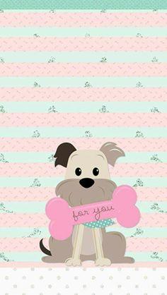 Pink and green dog with bone wallpaper Dog Wallpaper, Wallpaper For Your Phone, Animal Wallpaper, Cellphone Wallpaper, Wallpaper Backgrounds, Iphone Wallpaper, Illustrations, Dog Art, Cute Cartoon