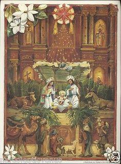 Vintage ADVENT CALENDAR Nativity Scene Baby JESUS Wise Men Camel Sheep Lillies