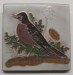 4 inch Robin Tile ~ Facing Left (Gila ~ McKusick ~ DHC ~ Tiles & Pottery) at Antique Tiles Globe Arizona, Antique Tiles, Bath Decor, Robin, Rooster, Mosaic, Moose Art, Mexican, How To Apply