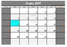 Five October 2019 Calendar with Holidays USA, Welcome back to our website. On this occasion we will provide a calendar design or template in October 2019 with a holiday in the USA. October Calendar, Halloween Celebration, Calendar Design, Printables, Social Media, Templates, Holidays, Stencils