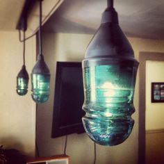 Decorating with Old Insulators | some track lighting out of some hundred year old power line insulators ...