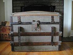 Grey Barrel Top Steamer Trunk  1860's Edwardian by RustyNailDesign, $229.00