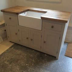 Kitchen Sink Unit Free Standing Solid Pine with Belfast Sink and Pine Worktop in Home, Furniture & DIY, Furniture, Cabinets & Cupboards   eBay