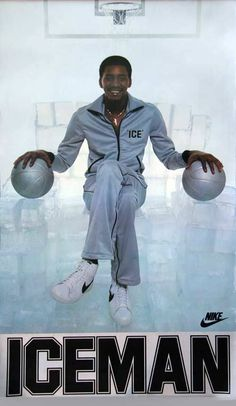 """Hall of Famer George Gervin talks about his days playing against Julius Erving, what makes LeBron special and his famous """"Iceman"""" Nike poster. Basketball Posters, Basketball Pictures, Basketball Legends, Sports Posters, Nba Pictures, Sports Art, Sports Teams, Basketball Jones, Nike Basketball"""