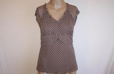 GNW Shirt Top M Nylon Mesh Stretch Brown White Polka Dots Short Sleeves #GNW #KnitTop #Casual