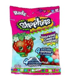 It's Shopkins that you can eat! Includes four (4) exclusive Shopkins flavors: Berry Blast, Fruit Swirl, Tropical Freeze, and Bubble Yum! Includes one per package. Net wt. 42.5g (1.49 Ounce)