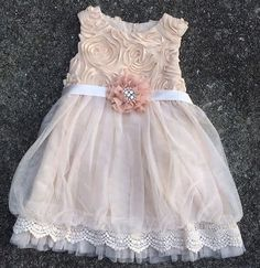 Beige Rose Lace Dress. So beautiful in person! Gorgeous shabby chic, tulle, and lace detailing. Buttons and ties in the back. Includes hand