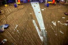 waterfall chalk drawing optical illusion
