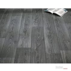 PVC Bodenbelag Holz Maxiplanken Schwarz Grau - Breite 4 Meter