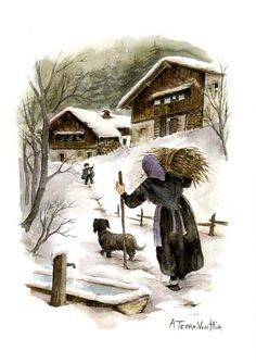My Terra Vecchia collection - The teddy bear cabinet - Ideas that inspire . - Ma collection Terra Vecchia – L'armoire aux nounours – Idee che ispirano My Terr - # Christmas Scenes, Christmas Art, Winter Landscape, Landscape Photos, Snowy Pictures, Winter Szenen, Winter Painting, Painting People, Snow Scenes