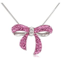 """Carnevale Sterling Silver Pink Bow with Swarovski Elements Necklace, 18""""   Amazon Curated Collection  $44.99"""