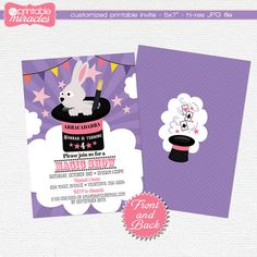 Magic show invitation Girls magic show by MyPrintableMiracles